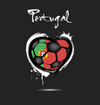 flag of portugal in the form of a heart vector image vector image