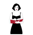 girl reading standing holding a book vector image