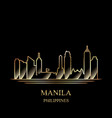 gold silhouette of manila on black background vector image