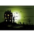 Greeny Halloween haunted mansion background vector image vector image