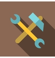 Hammer and wrench icon flat style vector image vector image