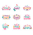 happy easter symbols logo badges and vector image vector image