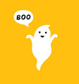 happy flying ghost with white speech bubble boo vector image vector image
