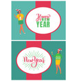 happy new year greeting card greetings oval frame vector image