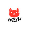 hola slogan graphic with cat sign vector image vector image