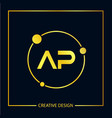 initial letter ap logo template design vector image