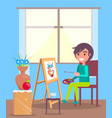 kid sits in room and paint still life picture vector image