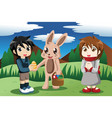 kids with easter bunny vector image