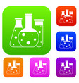 laboratory flasks set collection vector image vector image