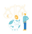 male character put golden euro coin in piggy bank vector image