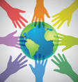 many colorful hands surrounding earth globe vector image vector image