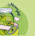 mason jars juice fruits vector image vector image