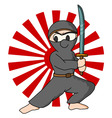 ninja rising sun background vector image vector image