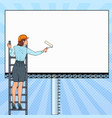 pop art business woman with blank billboard vector image vector image