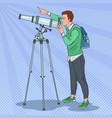 pop art happy man looking through a telescope vector image