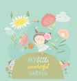 pretty girl watering flower vector image