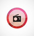 radio circle pink triangle background icon vector image vector image