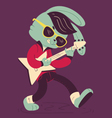 Rockabilly Bunny Playing Guitar vector image