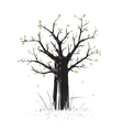 Scratchy Scribble Tree in Black Silhouette