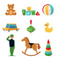 set cute colorful toys for kids flat cartoon vector image