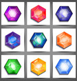 set icons with crystals vector image