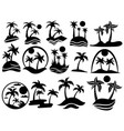 set islands with palm trees the collection of vector image vector image