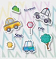 set transportation and road elements patches vector image