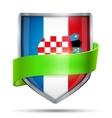 Shield with flag Croatia and ribbon vector image