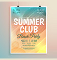 summer beach party banner flyer template design vector image