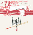 sushi banner with chopsticks and east landscape