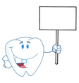 Tooth Character Holding Up A Small Blank Sign vector image vector image