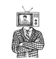 tv head man engraving vector image vector image
