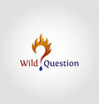 wild question is stylish logo with flame concept vector image vector image