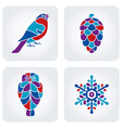 Winter mosaic icons vector image vector image