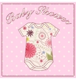 Baby shower girl with bady clothing vector image