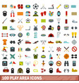 100 play area icons set flat style vector image vector image