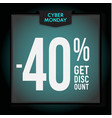 40 percent off holiday discount cyber monday vector image vector image