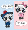 bashower greeting card with pandas boy and girl vector image vector image