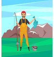 bearded fisher in rubber boots with fish trophy vector image vector image