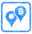 bitcoin map markers framed stamp vector image vector image