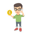 boy businessman talking on phone and holding coin vector image vector image