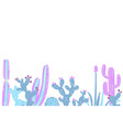 cacti flower background hand drawn vector image