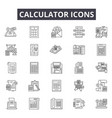 calculator line icons signs set outline vector image vector image