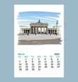 calendar sheet march month 2021 yearberlin vector image
