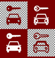 car key simplistic sign bordo and white vector image vector image
