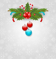 Christmas background with balls holly berry pine vector image vector image