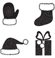 Christmas cap socks gloves and gift vector image
