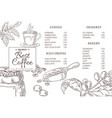 coffee menu quotes hand drawn coffee elements vector image