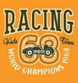 cute kid car racing team vector image