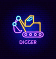 digger neon label vector image